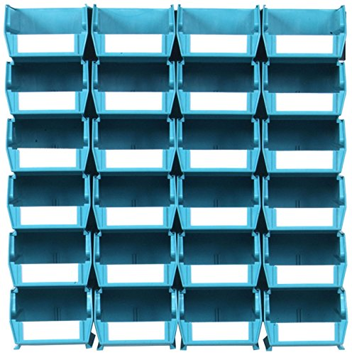 Triton Products LocBin 3-210TBWS Wall Storage Unit with  Interlocking Poly Bins, 24-Count, Teal, 26-Piece (Units Storage Wall)