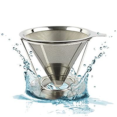 Reusable Stainless Steel Coffee Filter - Best Paperless Coffee Dripper with Double Layer Fine Mesh For Decanter & Brewer - Premium Pour Over Cone & Stand - Make Perfect Single Cup Coffee Every Time!