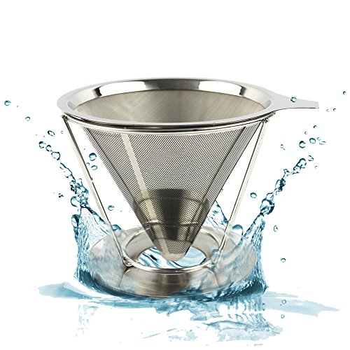 CHRISTMAS SALE - Reusable Pour Over Coffee Filter – Best Paperless Coffee Dripper with Double Layer Fine Mesh For Decanter & Brewer – Premium Pour Over Cone & Stand -