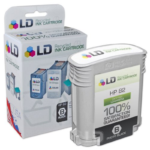 LD © Remanufactured Replacement for HP 82 / CH565A Black Inkjet Cartridge for HP DesignJet 111, and 510 Printers