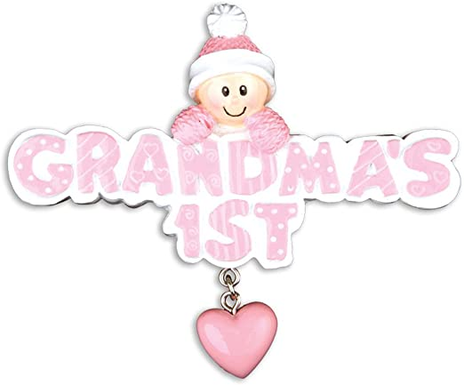 CHRISTMAS GIFT Pink Girl Mitten Personalized Christmas Ornament New Baby/'s 1st