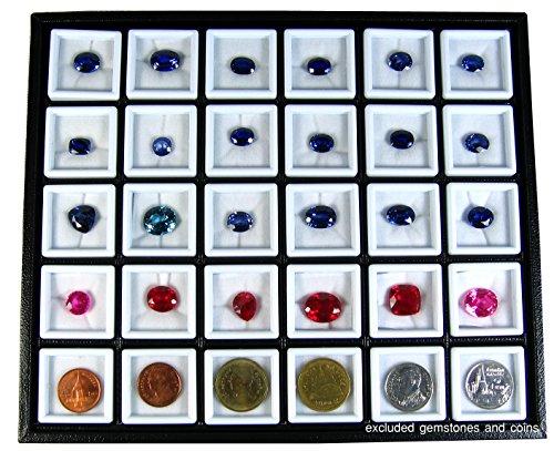 30 PCS OF TOP GLASS GEMSTONE JAR BOX SIZE 3x3 CM WITH HOLDER TRAY DISPLAY SHOW CASE ORGANIZER
