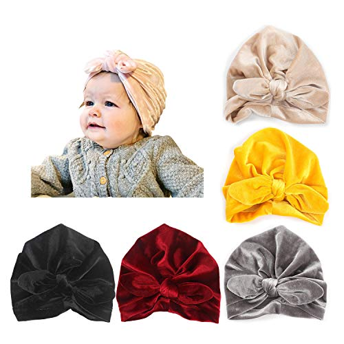 DRESHOW BQUBO 5 Pieces Baby Turban Hats Turban Bun Knot Baby Infant Beanie Baby Girl Soft Cute Toddler Cap (Garden What Knot Is A)