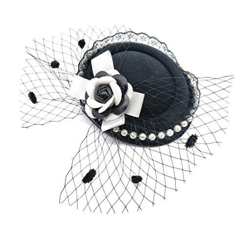 Fascinator Hair Clip Headband Pillbox Hat Victorian Lady Cameo Bowknot mesh Tea Party (C Camellia White Black BW)
