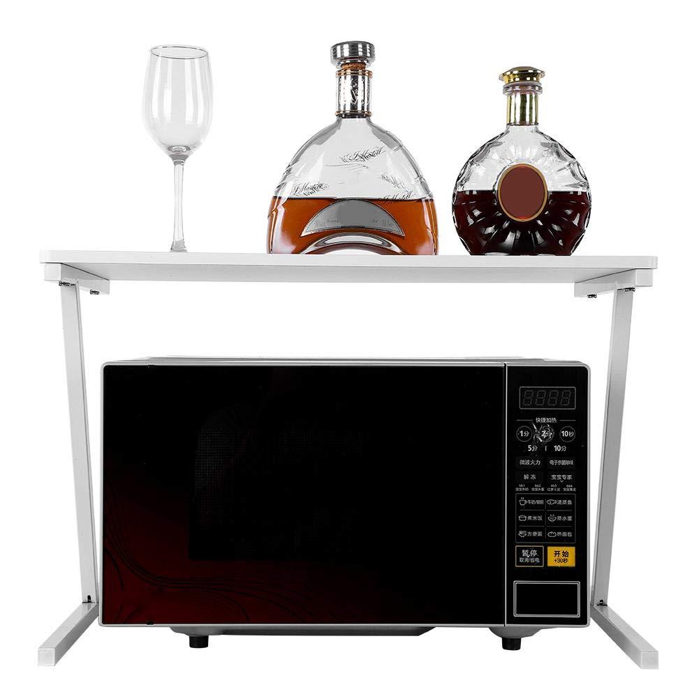 2 Tiers Microwave Stand Storage Rack, Premium Steel Frame + MDF Board Kitchen Microwave Oven Baker's Rack Shelving Unit (Elegant White)