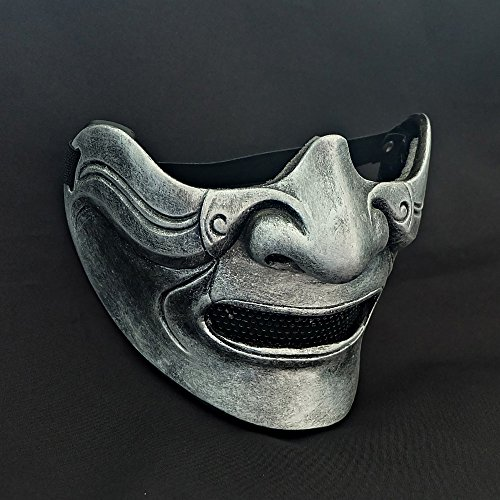tripple_777 Custom Halloween Costume Cosplay BB Gun Hanya Kabuki Oni Samurai Airsoft Mask silver MA215 -
