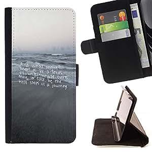 Momo Phone Case / Flip Funda de Cuero Case Cover - Playa Texto motivación Gray Mar - LG G4 Stylus H540