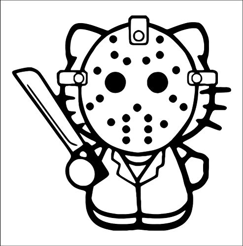Hello Kitty Jason Voorhees Friday The 13th, Green, 6 Inch, Die Cut Vinyl Decal, For Windows, Cars, Trucks, Toolbox, Laptops, Macbook-virtually Any Hard Smooth Surface (13th Green)