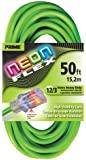 Prime Wire & Cable NS512830 50-Foot 12/3 SJTW Flex High Visibility Extra Heavy Duty Outdoor Extension Cord with Prime light Indicator Light, Neon Green