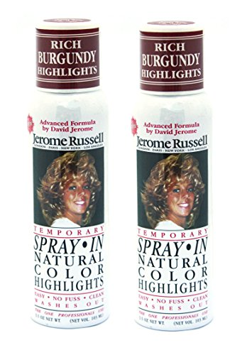 Jerome Russell SPRAY IN Natural Color Highlights TWO PACK - Rich Burgundy - Clean, Easy Washes Out - 2 x 3.5 oz Temporary Hair Color -