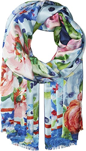 Echo Design Women's Springtime Floral Oblong Coastal Blue One Size