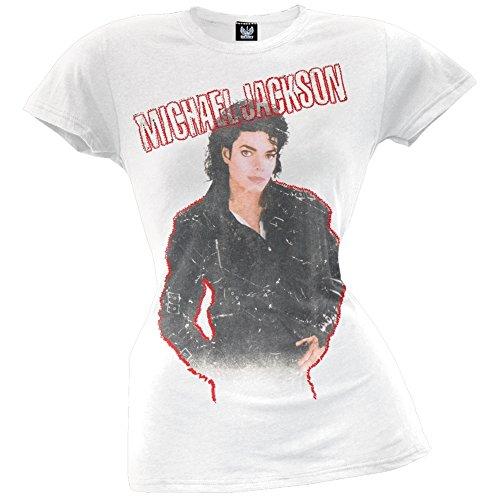 Michael Jackson - Womens Bad Juniors T-shirt Large White