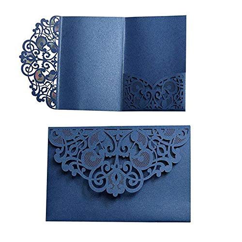 10 Pack Wedding Invitations Cards Kit, Hanhan 3 Folds 5x7'' Laser Cut Flora Lace Invitation Cards Cover Holder Pocket for Wedding Bridal Shower Engagement Birthday Graduation Invitation