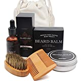 Aptoco Beard Care Kit for Men Beard Growth Grooming & Trimming with 100% Boar Bristle Men's Beard Brush, Wooden Beard Comb, Beard Balm, Beard Oil Gift Box & Travel Bag Perfect Xmas Gifts for Him Dad