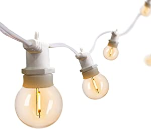 YVETTE LED Outdoor String Lights - 50Ft Waterproof Patio Lights - 24 Hanging Base Sockets and 25 G40 Vintage Edison Bulbs(1 Spare) - ETL Listed Bistro Ambience On Your Porch (White)
