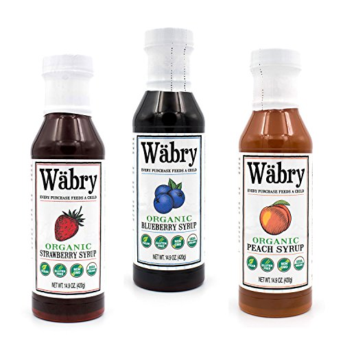 Snow Natural - Wäbry Organic Syrup 14.9 oz Strawberry, Blueberry, Peach (Fruit Variety 3 Pack) BPA-Free Plastic