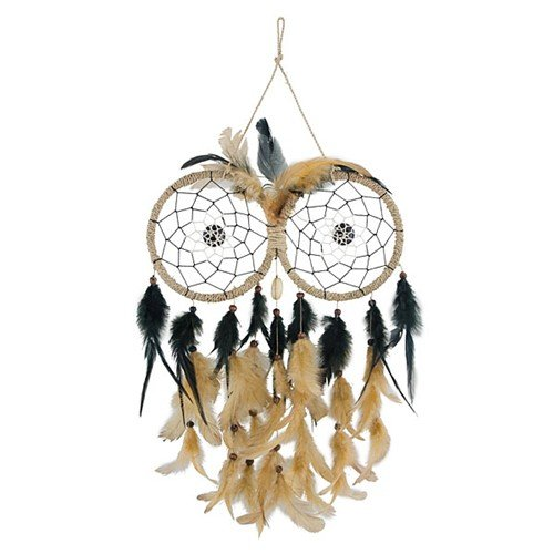 "OWL FEATHERS DREAM CATCHER NATURAL 9.1875x13""l +6""Hanger"
