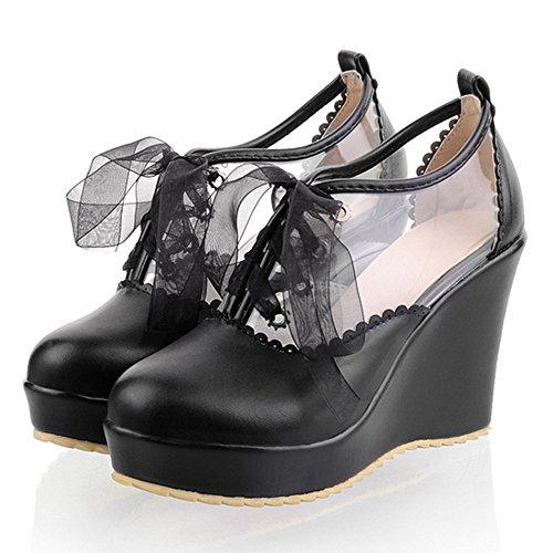 TAOFFEN Mujer Moda Tacon de Cuna Alto Transparente Gasa Zapatos Verano Plataforma Negro