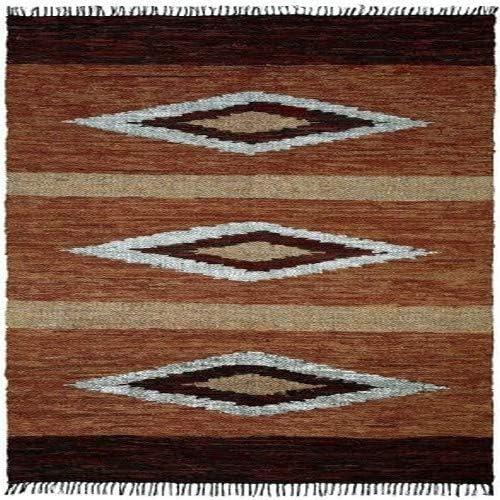 Matador Diamonds Leather Chindi Rug, 9 by 12-Feet, Brown