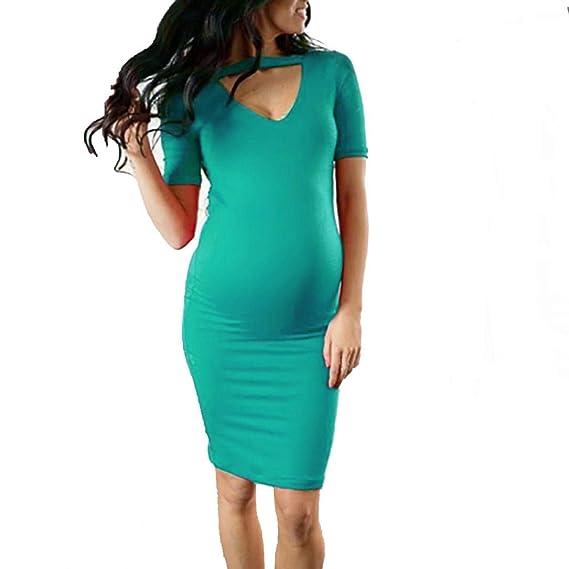 Gusspower Vestido de Ropa premamá Verano de Mujer,Vestir de Maternidad de Color Puro de