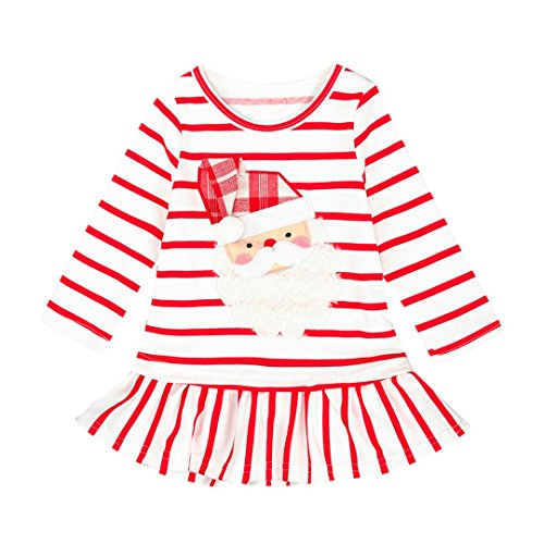 Girls Tops,Haoricu 2017 Hot Sale Baby Girls Striped Christmas Santa Claus Dress Toddler Kids Outfits Clothes (24M, White)