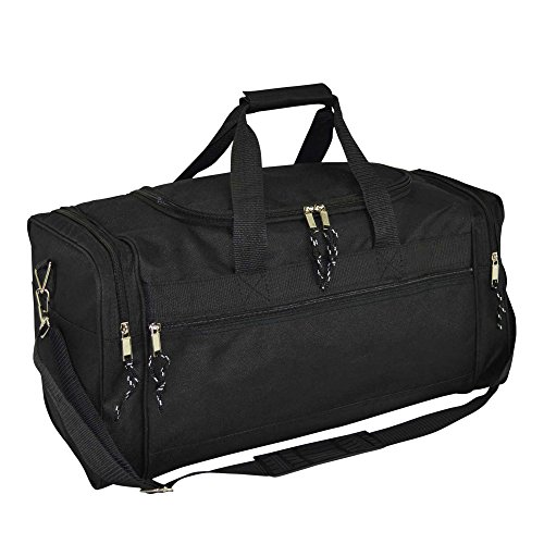 DALIX 21' Blank Sports Duffle Bag Gym Bag Travel Duffel Adjustable Strap in Black