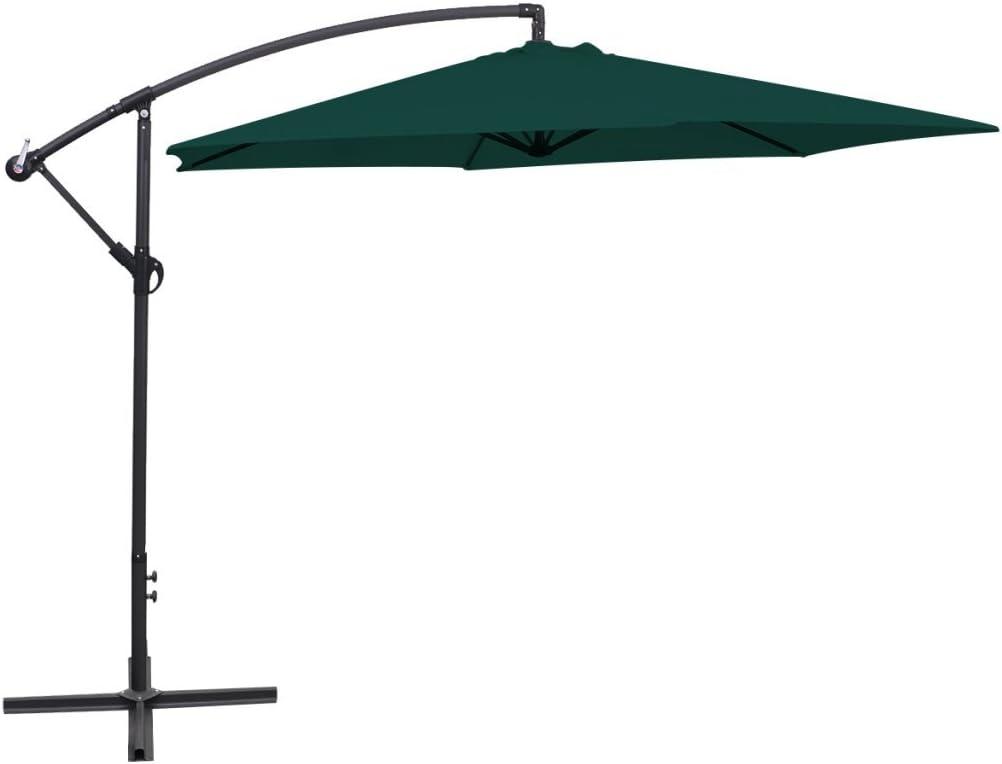 Festnight 16.4 Feet Aluminum Patio Umbrella UV Resistant Garden Parasol Outdoor Table Market Hanging Umbrellas with Cranks and Portable Base Stand Green