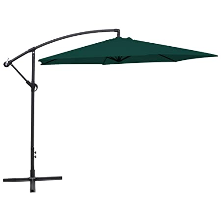Festnight 16.4 Feet Aluminum Patio Umbrella UV Resistant Garden Parasol Outdoor Table Market Hanging Umbrellas with Cranks and Portable Base Stand Green