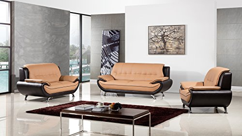 - American Eagle Furniture Highland Complete 3 Piece Living Room Leather Sofa Set, Yellow/Brown