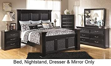 Ashley Cavallino Bedroom Set In Deep Black With Queen Size Mansion Bed +  Dresser + Mirror