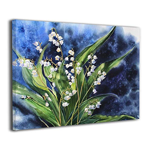 Of Bouquet Valley Lily The (Canvas Wall Art Wall Decor Picture Watercolor Illustration With Lilies Of The Valley Bouquet On Blue Background Paintings On Canvas Prints For Living Room Wall Art Framed Ready To Hang 16
