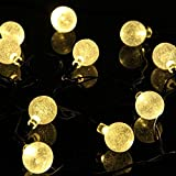 LMID Outdoor Solar Globes Chritmas Lights 15.7ft 20 LED Crystal Ball String Outside Hanging Lamp For Garden Yard Trellis Christmas Tree Parties (Warm White)