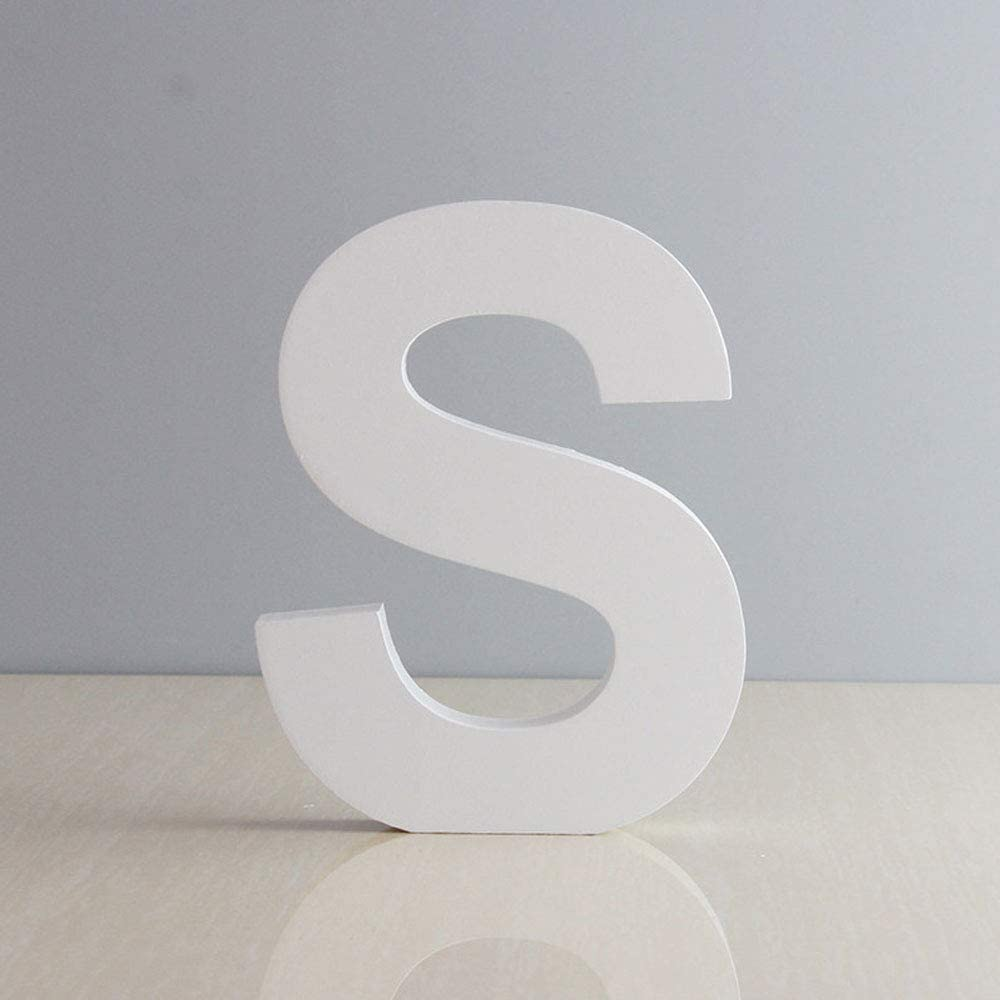 We Moment White Decorative Wood Letters,Hanging Wall 26 Letters Block Wooden Alphabet Letter for Home Bedroom Wedding Brithday Party Decor-Letters (S)