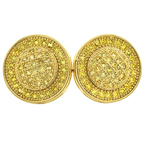 Lemonade Micro Pave CZ Domed Shaped Hip Hop (Mens Iced Out Bling Earrings)