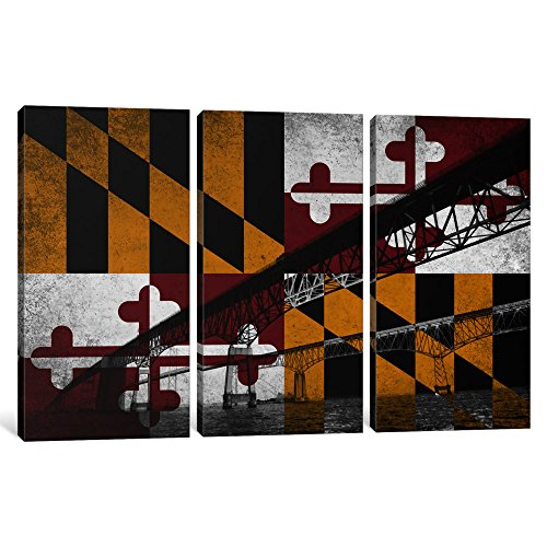 iCanvasART 3-Piece Maryland Flag Chesapeake Bay Bridge Ocean Grunge Canvas Print by Kane, 0.75 by 40 by 60-Inch