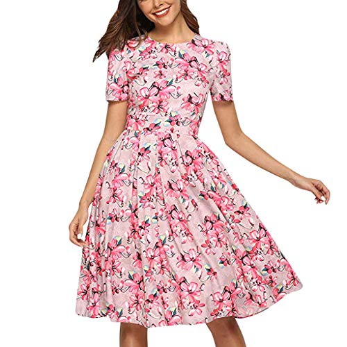 - Women Elegent A-line Vintage Printing Party Dress Ladies O-Neck Half Sleeve Pleat Dresses