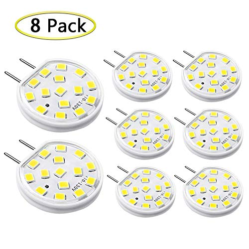 G8 LED Bulb Dimmable 3W Mini Thin Puck Light Equivalent to 20W-25W T4 G8 Bi-Pin Base Halogen Bulb, 120V Daylight White 6000K G8 Bulb for Under Counter Kitchen Lighting, Under Cabinet Light (8-Pack)