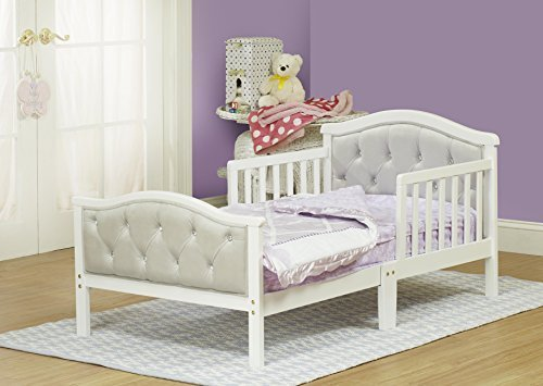 Toddler Bed with Soft Tufted Headboard, Kids Wood Bed Frame with Half Side Rails