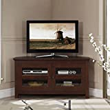 44'' Corner Living Room TV Console with Media Storage in Medium Brown Finish