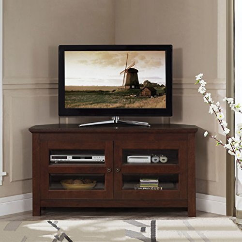 44'' Corner Living Room TV Console with Media Storage in Medium Brown Finish by Home Accent Furnishings