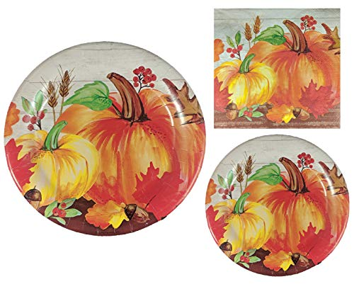 Pumpkin Fall Plates and Napkins, Serves 20 Guests – 20 Dinner Plates, 20 Dessert Plates and 50 Large Napkins – Party…