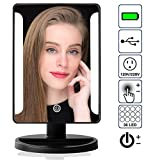 Vanity Set with Mirror and Lights Natural Light Cosmetic Vanity Mirror with 10x Magnification - 36 Adjustable LEDs, Detachable Mini-Mirror, Super Portable