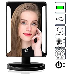 natural light cosmetic vanity mirror with 10x magnification 36 adjustable leds. Black Bedroom Furniture Sets. Home Design Ideas