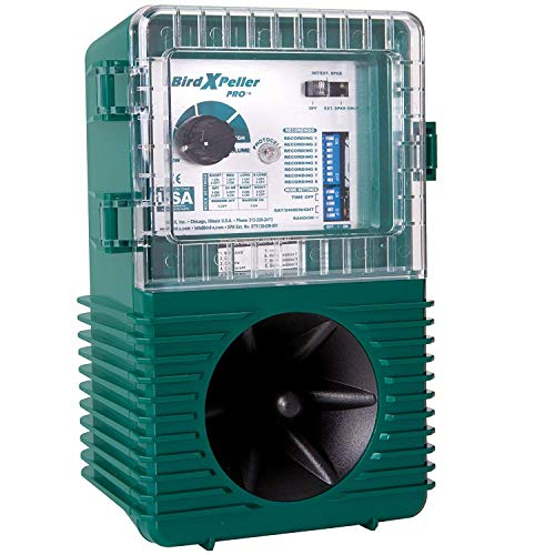(Bird-X Peller Pro Model 1 Electronic Bird One Acre Coverage. Natural Sounds Repel Pigeons, Starlings, Sparrows &Amp Gulls.)