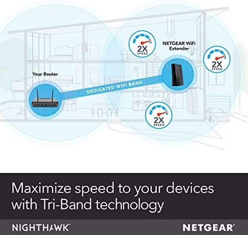 NETGEAR WiFi Mesh Range Extender EX8000 - Coverage as much as 2500 squareft. and 50 Devices with AC3000 Tri-Band Wireless Signal Booster & Repeater (Up to 3000 Mbps Speed), Plus Mesh Smart Roaming