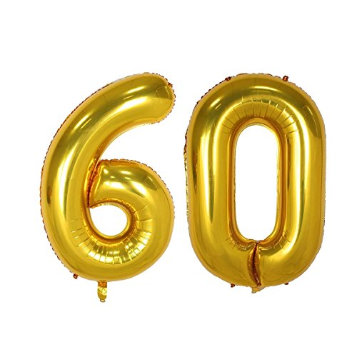 40inch Gold Number 60 Balloon Party Festival Decorations Birthday Anniversary Jumbo foil Helium Balloons Party Supplies use Them as Props for Photos (40inch Gold Number 60)