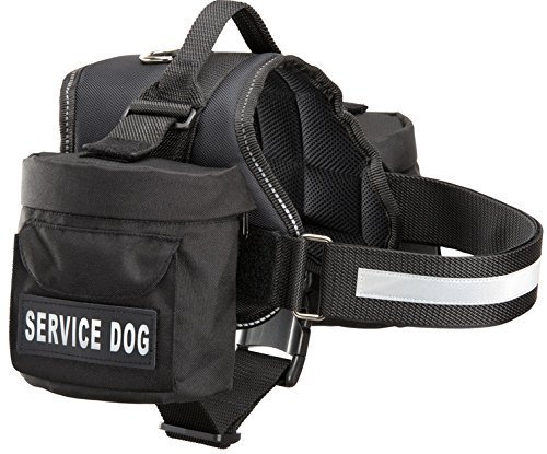 Service Dog Backpack Harness w/ 2 Removable Saddle Bags PLUS 4