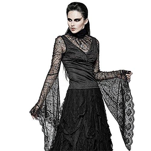 Punk Women Gothic Spider Web Flare Sleeve T-Shirt Sexy Lace Adjustable Bandage Shirts Tops (XS, Black) Spider Web Lace Long Sleeve