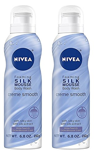 (Nivea Foaming Silk Mousse Body Wash - Creme Smooth - With White Peach & Orchid Blossom Scent - Net Wt. 6.8 OZ (192 g) Per Can - Pack of 2 Cans)