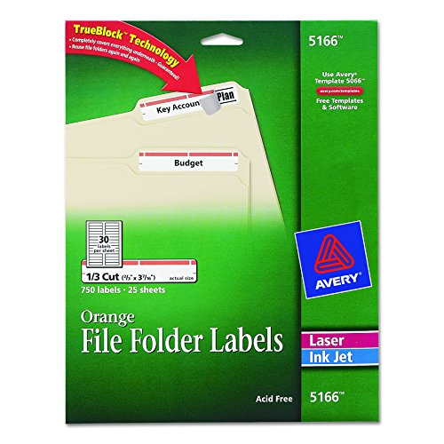 Red File Folder Labels (Avery Orange File Folder Labels for Laser and Inkjet Printers with TrueBlock Technology, 2/3 inches x 3-7/16 inches, Pack of 750 (5166))